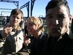 Graham, Amber and Nathaniel on set filming Season 8