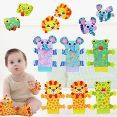 1 Pair Newborn Baby Soft Cute Animal Socks Animal Baby Rattle Wrist  For 0-12 Months Birthday Gift - BYC105 PT20