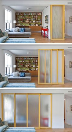 Over 90 luxurious room divider ideas for small spaces – girls room – design Room Divider Ideas Bedroom, Small Room Divider, Living Room Divider, Room Divider Doors, Room Decor, Living Room Sliding Doors, Living Room Partition, Room Divider Bookcase, Glass Room Divider