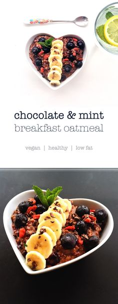 Healthy vegan oatmeal! With Chocolate! Chocolate & Mint Porridge with Blueberries https://madebyluci.co.uk/chocolate-mint-porridge/