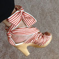 Coach Strappy Red Striped Sandals