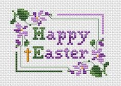 Happy Easter cross stitch pattern