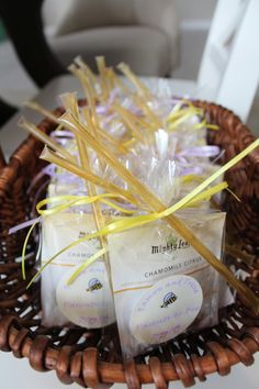Baby shower favors. Put your favorite kind of tea in a cellophane bag and tie a honey stick to the outside with ribbon. Perfect for a tea party or mama-to-bee theme baby shower.