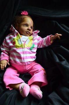 Reborn biracial baby girl Rowan by Jessica Schenk Low starting bid no reserve!