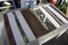 Upcycled And Striped French Farmhouse Table   Hometalk