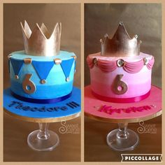 Matching twin prince and princess themed first birthday cakes for