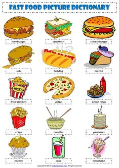Fast food picture dictionary