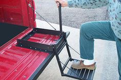 Great Day Inc Truck N Buddy Tailgate Step - - Fits trucks with bed covers installed. Supports up to 300 lbs. Convenient, quick and easy access to the truck bed. Also perfect for aging pets. Tailgate Step, Truck Tailgate, Utv Accessories, Truck Bed Accessories, Camping Accessories, Accessoires 4x4, Bed Steps, Tire Steps, Truck Bed Storage