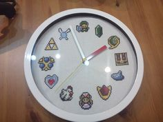 Picture of Zelda cross stitch clock + pattern-BEST tutorial out there to explain how to on a cross stitch clock