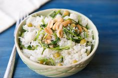 Coconut Rice with Pea Tendrils | Garlic My Soul