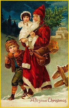 Victorian Father Christmas Santa St Nick Carrying Children Counted Cross Stitch or Counted Needlepoint Pattern Vintage Christmas Images, Victorian Christmas, Retro Christmas, Christmas Pictures, Christmas Art, Christmas Mantles, Christmas Villages, White Christmas, Christmas Ornaments