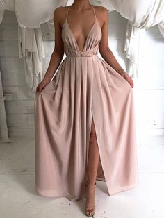 Sheath/Column V-neck Chiffon Floor-length Split Front Backless Hot Prom Dresses $119.99