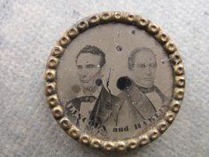 1860 Lincoln - Hamlin Ferrotype Jugate Campaign Pin