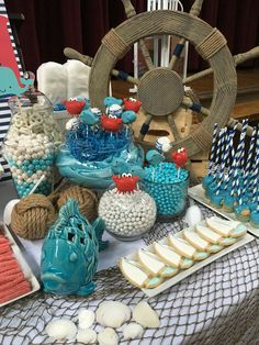 Nautical candy bar with sailboat cookies