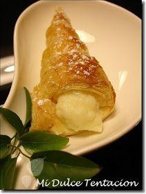 Mi dulce tentación: Conos Rellenos de Crema Pastelera