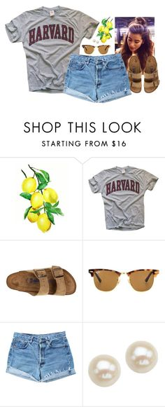 """All this week I have 4 hours of gymnastics and then 4 hours of babysitting right after that🙄"" by aweaver-2 on Polyvore featuring Birkenstock, Ray-Ban, Levi's and Honora"
