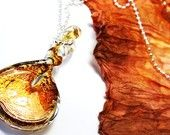 DESTINY. Luxurious Lampwork Pendant. Handmade Murano Glass Beads in Matching Amber Tone. Sterling Silver Ball Chain. Exquisite Gift for Her.