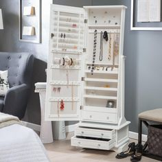 Locking jewelry armoire and adjustable full-length mirror combined.
