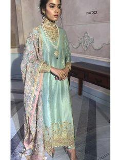 Blue Silk Straight Cut Bollywood Suit Beautiful blue silk unstitched suit is decorated with zari, gota work. Pakistani Formal Dresses, Pakistani Wedding Outfits, Pakistani Fashion Casual, Pakistani Dress Design, Nikkah Dress, Bridal Outfits, Indian Fashion, Pakistani Clothing, Pakistani Couture