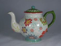 DUTCH WAX by COASTLINE IMPORTS TEAPOT W/ LID HAND PAINTED SHABBY CHIC ...