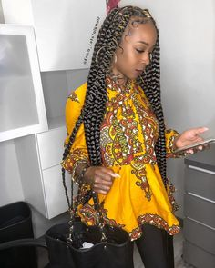 """Erica J White on Instagram: """"💛💛💛💛💛 #braidsgang #voiceofhair #protectivestyles #naturallydope #myhaircrush #ghanabraids #feederbraids #feedinbraids #dopebraids…"""" Try On Hairstyles, Box Braids Hairstyles, Black Girls Hairstyles, Protective Hairstyles, Protective Styles, Twist Hairstyles, Cute Box Braids, Make Hair Grow, Back In The 90s"""