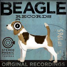 Beagle Records album style artwork original illustration graphic art on 12 x 12 canvas by stephen fowler