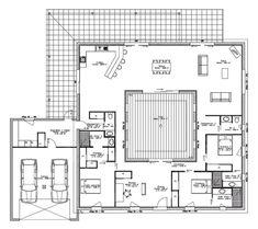Plan maison avec patio central et terrasse sur le toit - Plan maison 180 m2 plain pied ...