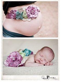赤ちゃんの撮影セッションのアイデア☆【時間の経過】マタニティの時と生まれてあとで、同じサッシュリボンベルトを使って☆