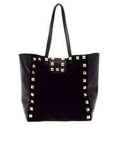suede studded tote / asos - #black #bag #borchie