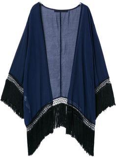 Kimono Orné De Franges Style Décontracté -Bleu 19.32