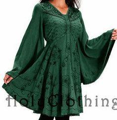 MARIETTA - Renaissance Kleid / Longtunika - grün