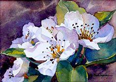 "Cherry Blossoms par Yvonne Hemingway Aquarelle ~ 8 ""x 10"" Framed"