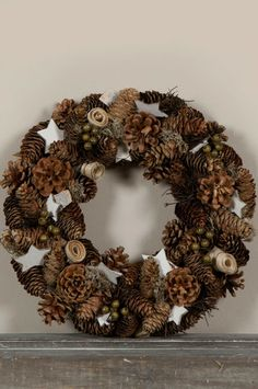 Pinecone Wreath - You'll Love These Unique Twists on Traditional Christmas Decor - Photos Decorations Christmas, Pine Cone Decorations, Festival Decorations, Holiday Wreaths, Christmas Crafts, Pine Cone Crafts, Wreath Crafts, Diy Wreath, Natural Christmas