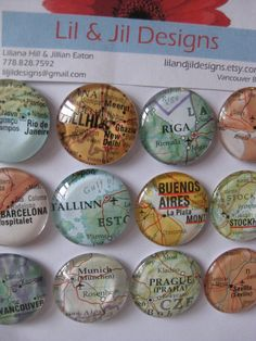 Glass fridge magnets. These would be super cute to make some day. Favorite places visited! What a cute idea!!!