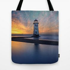 Sunset at Talacre Lighthouse Tote Bag by Adrian Evans - $22.00