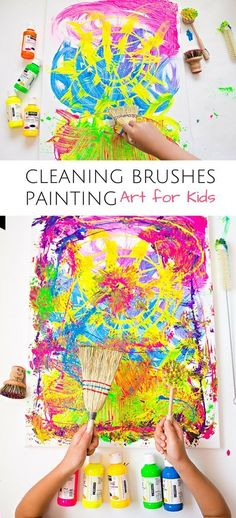 Cleaning brushes painting with kids: fun process art project. Art Journal Pages, Art Journals, Art Projects For Teens, Art For Kids, Crafts For Kids, Arts And Crafts, Easy Crafts, Creative Crafts, Paper Crafts