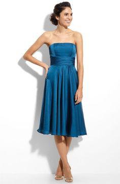 strapless bridesmaid dresses | ... Bridesmaid Dresses A-line Strapless Teal Tea Length Bridesmaid Dress