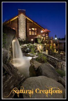 Waterfall At Taprock Restaurant In Grants P Oregon