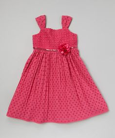 Another great find on #zulily! Fuchsia Polka Dot Lace Bodice Dress - Girls by Youngland #zulilyfinds