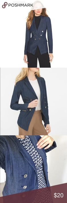 WHBM jacket size 4 Petite WHBM jacket size 4 Petite light Denim material great condition!!! Welcome offers!!! White House Black Market Jackets & Coats Blazers