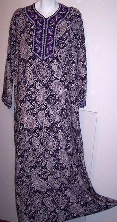 "Asa Kaftan Dress L Purple White Paisley Boho Hippie Maxi Caftan Women's Bust 40"" #ASA #ModestAlinebohoflowyrayonKaftanCaftanHippieFestivalLoungewearPurplePaisley #Casual"