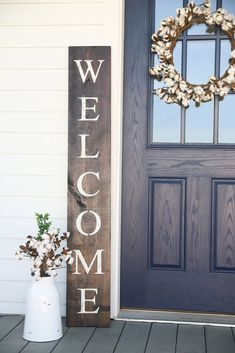 Welcome sign for your front porch in farmhouse lettering. This adorable welcome sign will add a warm touch to your front door. The sign is made of solid wood with painted letters for a rustic home decor piece to add to your home. Decor, Porch Welcome Sign, Spring Decor, Rustic House, House With Porch, Front Porch Decorating, Diy Decor, Diy Door, Porch Decorating