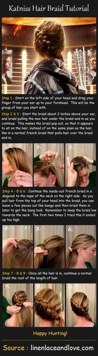 Katniss braid tutorial...it looks so simple...but it still baffles me.  I need my own personal hair and makeup team.