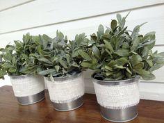 Small Tin Wedding Favor Buckets, Burlap Woodland Wedding Decor Galvanized Silver Pails, Shabby Cottage Chic Table Center Piece, Garden Pot on Etsy, $8.00