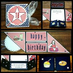 "Ett USA inspirerat födelsedagskort till en tjej.    USA inspired six folded birthday card to a girl. Text and drawings and the big stars made by hand. Smal stars board punch Martha Stewart. CS Reprint / Paper Accents Black and Avalanche. DP Canvas Corp ""Navy & Ivory Mini Dot Reverse"" and ""Red & Ivory Ribbon stripe.  Alphabet dies Quickutz"" Lollipop"". Made by Kirsi Arvidsson."