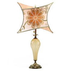 Megan Kinzig Table Lamp, 125Y114, Free Shipping. Megan features a criss cross embroidered silk shade in soft gold and apricot tones. Base is crème-colored blown glass with copper and base elements. $770