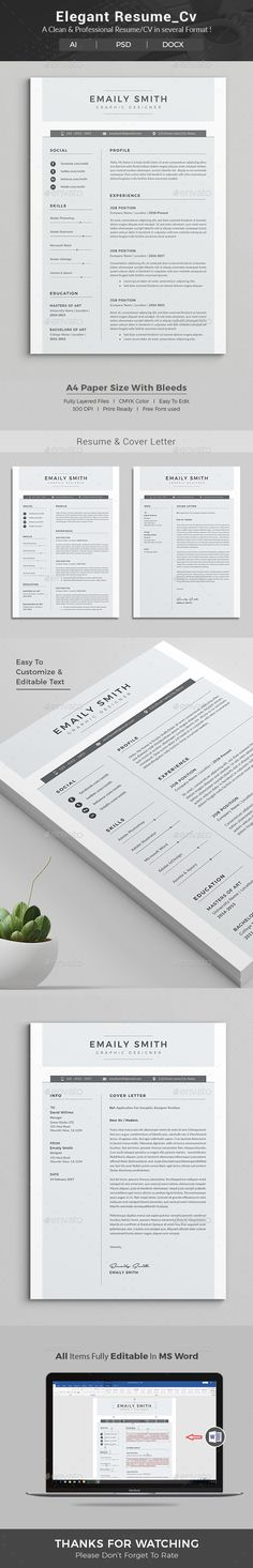 Resume Word Template / CV Template with super clean and modern look - create resume format