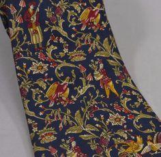 Mens Necktie Tie Italy Toile Birds Orient Vines Flowers Salvatore Ferragamo Navy   eBay