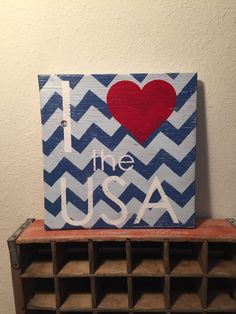 I love the USA, handmade wooden wall sign, chevron, heart, America, patriotic, 4th of July, rustic, red white blue by CambrisCottage on Etsy