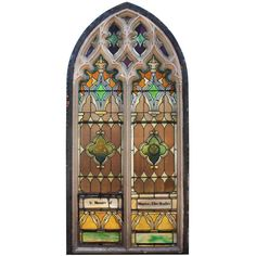 Antique Gothic Arch Window, c.1890 ❤ liked on Polyvore featuring home, home decor and windows stained glass